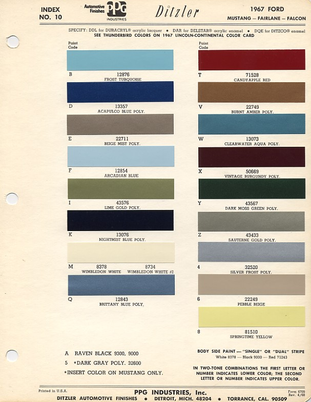 Windstar Paint Codes